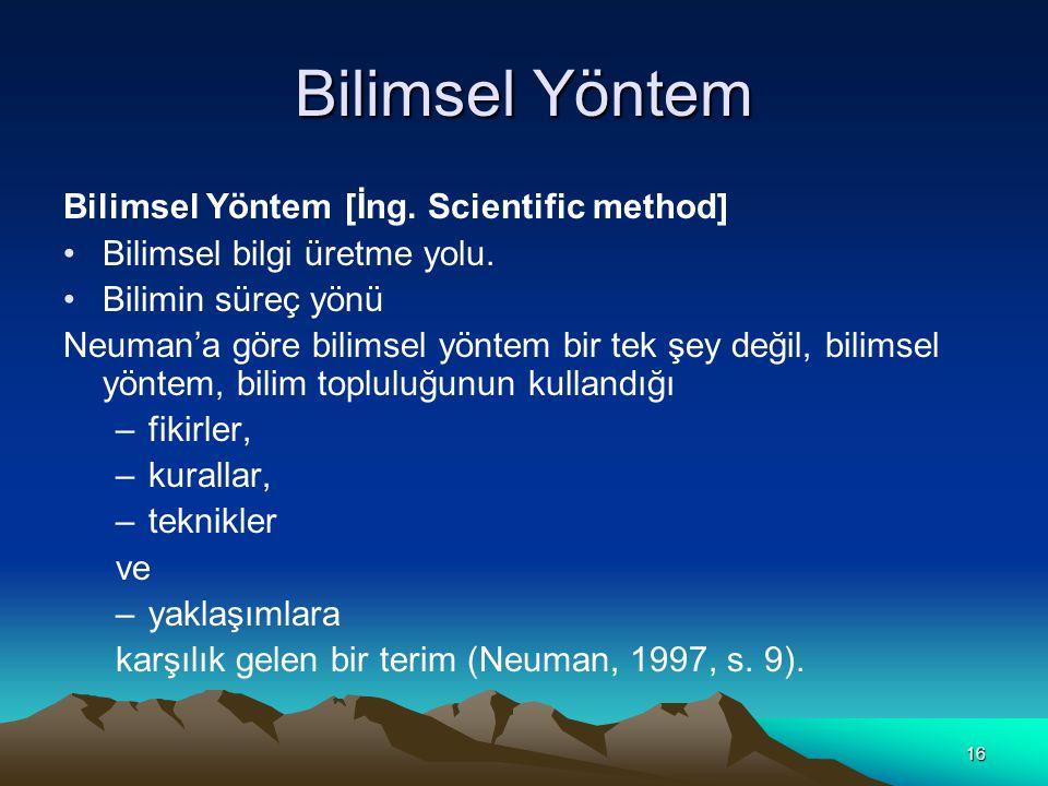 Bilimsel Yöntem Bilimsel Yöntem [İng. Scientific method]